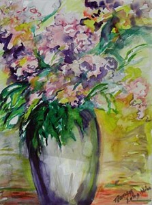 Flowers in a Purple Vase Medium: Watercolor Size: 21 x 27