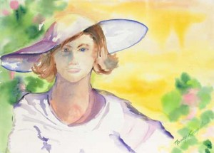 Woman in a Purple Hat Medium: Watercolor on Paper Size: 33 x 25.5