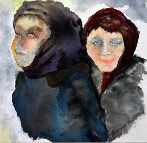 PAINTING--ROMANIAN-WOMEN-IN